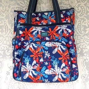 Levi's Blue Floral Canvas Book Carrying Bag Tote